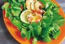 Crevettes marinées à la coriandre et au cresson