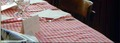 Table de Bouchon lyonnais avec la traditionnelle nappe à carreaux