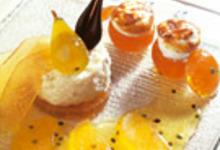 Transparence de fruits confits sur son riz au lait au confit de fleurs de jasmin