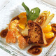 Foie gras poêlé et langoustines au caramel de mandarine