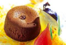 Fondant de chocolat noir, confiture d'orange amère et fruits confits