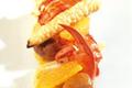 Homard rôti aux agrumes, salsifis, châtaignes et confiture de mandarine