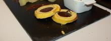 Dessert gastronomique à base de gateau à la broche