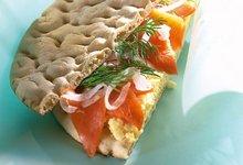 Sandwich de Saumon de Norvège fumé sur mimosa