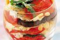 Vinaigrette de tomate, Fourme de Montbrison et aubergine aux pignons de pins