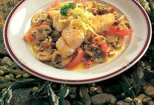 Filet de Lieu Noir de Norvège frit aux champignons et tomates
