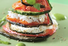 Millefeuille de légumes au cabillaud