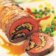 Roulade d'agneau à la pâte d'olive verte, petits pois étuvés