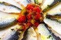 Eventail De Sardines Confites Au Gros Sel De Bayonne Aux Piments Doux Du Pays Basque