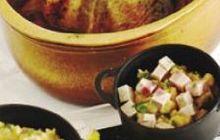 Chapon farci au beurre persillé, pommes de terre écrasées