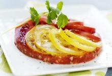 Carpaccio de Tomates de France multicolores, cumin et coriandre fraîche