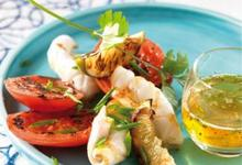 Plancha de Tomates de France et calmars