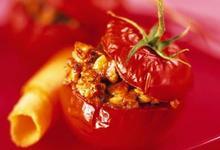 Tomates grappes de France farcies aux avelines Caramel d'orange au safran