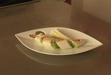 Calamars farcis au risotto et pesto de roquette