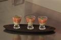 Soupe froide de tomates et poivrons, raviole de ricotta