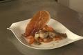 Râble de lapin piqué au lard et carottes nouvelles
