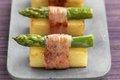 Pomme de terre en sushi d'asperge au lard