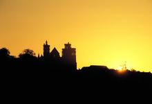 crépuscule sur la cathédrale de Laon