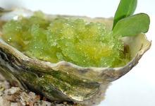 Huître Marennes Oléron au gingembre, granité de concombre à l'eau de mer