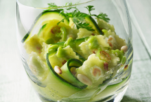 Salade de courgettes guacamole  ravioles croustillantes natures