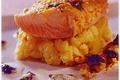 Filet de truite en croustillant de noisettes et à la violette.