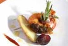 Ratte du Touquet et gambas « piquées », raisin et piment d'Espelette