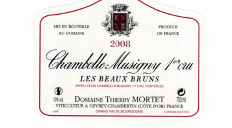"Chambolle Musigny 1er Cru "" Les Beaux Bruns"" 2008, domaine Thierry Mortet"