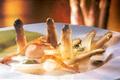 Noix de coquilles saint-jacques, poitrine paysanne, copeaux de parmesan