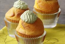 Muffins de maïs au cœur de Gruyère AOC français, crème d'avocat, façon cup-cake