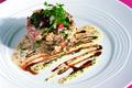 Chartreuse d'Ariane et crabe aux champignons de Paris, crème ciboulette