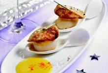 Poêlées de noix de St Jacques au foie gras sur crème de giraumon safrané