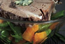 Transparence d'épaule d'agneau farcie à la Fourme d'Ambert  et son ragoût de légumes printaniers
