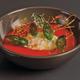 Soupe de fraises, sorbet basilic et tuile de caramel