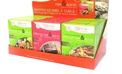 Trois des six miels culinaires de gamme créée par Miel et Une Tentations