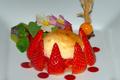 Compotée de fraise et menthe verte, mousseline caramélisée, par Eric Lambolez