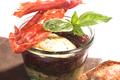 Verrine de Chavignol, figues fraîches et compotée d'oignons