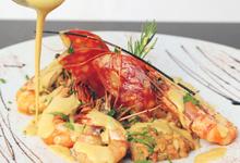 Le risotto de gambas et sa sauce au basilic