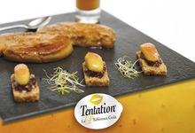 Crumble inversé de foie gras, déclinaison de pomme Tentation® et figue noire
