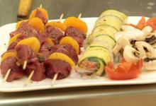 Brochette d'Agneau St George à l'abricot sec et au thym, canellonis de légumes