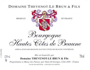 Vin rouge Bourgogne - Hautes Cotes de Beaune 2010