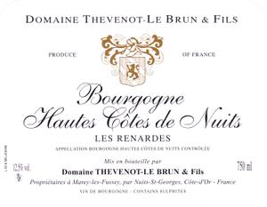 Vin rouge Bourgogne - Hautes Cotes de Nuits 2010 - Les Renardes