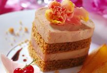 Millefeuille de Foie Gras au pain d'épices, poires caramélisées et confit d'oignons de Trebon au Madiran