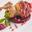 Caille farcie enroulée de jambon de Parme avec sa confiture d'oignon rouge de Cannara