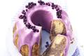 Gâteau marbré avec un glaçage aux myrtilles sauvages du Canada
