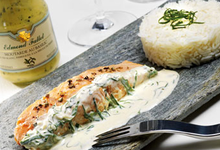 Pavés de saumon sauce Moutarde au basilic