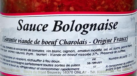 Sauce bolognaise (garantie viande de charolais)
