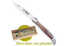 couteau de poche Laguiole - Tire-bouchon - Pointe de corne - en coffret bois