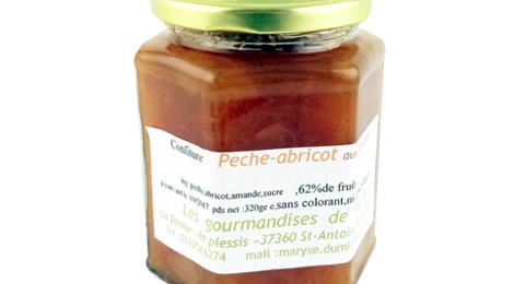 ferme Le Plessis, Confiture pêche abricot aux amandes