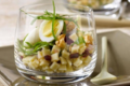 Salade de Crozets betterave, épinard et oeuf de caille