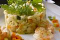 Risotto de crozet, petits légumes et langoustines